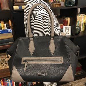 NWOT Steve Madden Black & Grey Bowler Bag